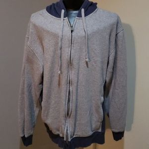 Grey and blue hooded jacket